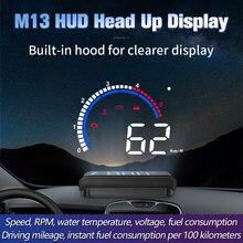 Monitor do carro m13 hud cabeça up display obd2 ii euobd sistema de aviso excesso de velocidade projetor automático alarme tensão eletrônica