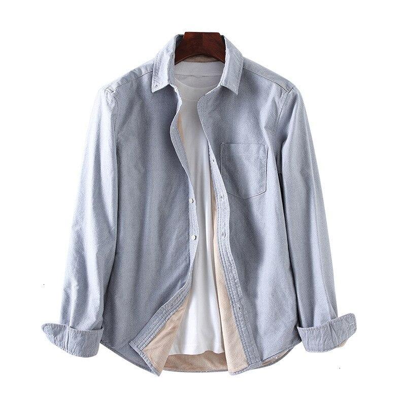 Qualité hiver épais polaire chaud hommes lavé Oxford coton Demin chemises manches longues chemise ajustée hauts décontracté Camisas Hombre