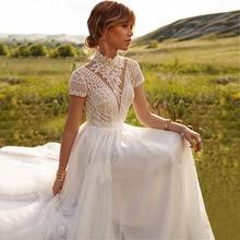 Vestido de noiva estilo boho, veste de casamento rendada, tule com pescoço alto, luvas e boêmio, elegante, marfim, 2021