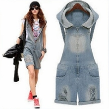 Jean Shorts Overalls Low-Waist Summer Fashion Women Sleeveless Lugentolo Ripped Bleached