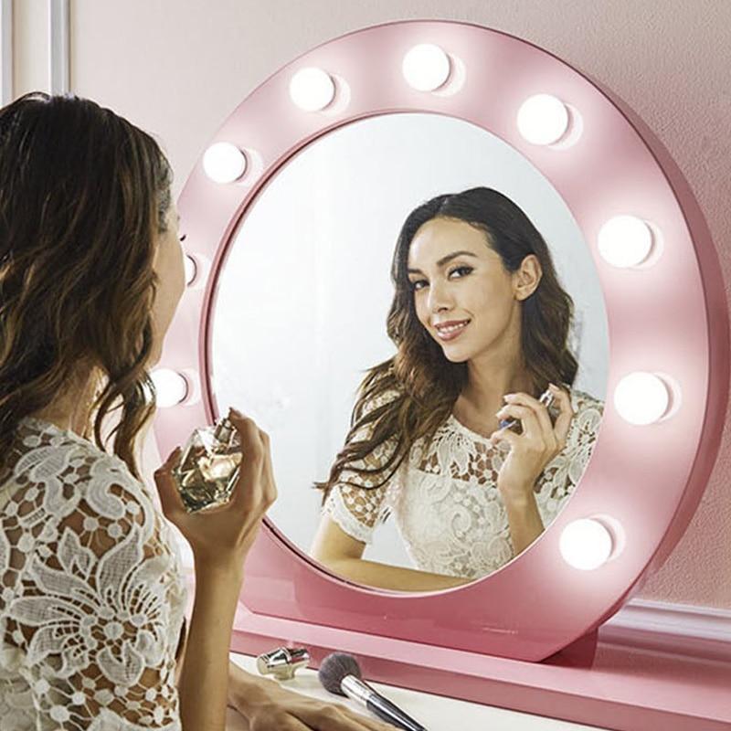 Vanity Mirror Lights 3Colors Light LED Bulb Glamour Hollywood Style LED Mirror Lights 5V 10Bulb USB Dressing Room Table Set 2A