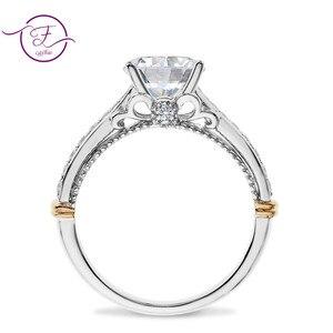 Image 5 - 14 585 ホワイトとローズゴールド 2 トーン 1ct 6.5 ミリメートルefカラーモアッサナイトの結婚指輪女性のための