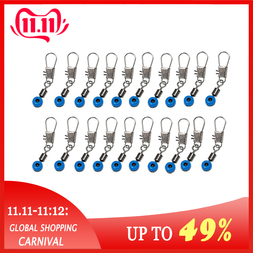 High Quality 20Pcs Blue Fishing Line To Hook Swivels Shank Clip Connector For Fishing