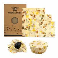 Wiederverwendbare bee bienenwachs wrap bienen wachs lebensmittel wraps 3 stücke Bienenwachs Wrap Tuch Frische Halten Sets Lebensmittel abgedichtet frische- halten abdeckung