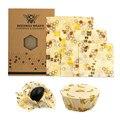 Wiederverwendbare bee bienenwachs wrap bienen wachs lebensmittel wraps 3pcs Bienenwachs Wrap Tuch Frische Halten Sets Lebensmittel abgedichtet frische-halten abdeckung
