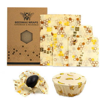 reusable bee beeswax wrap bees wax food wraps 3pcs Beeswax Wrap Cloth Fresh Keeping Sets Food sealed fresh-keeping cover