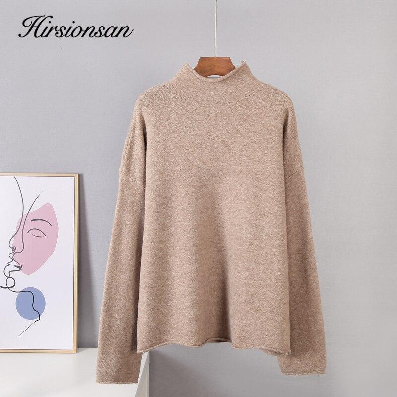 Hirsionsan – pull chaud en cachemire pour femme, haut doux, froissé, ample, café coréen, kaki, tricoté, nouvelle collection 2020