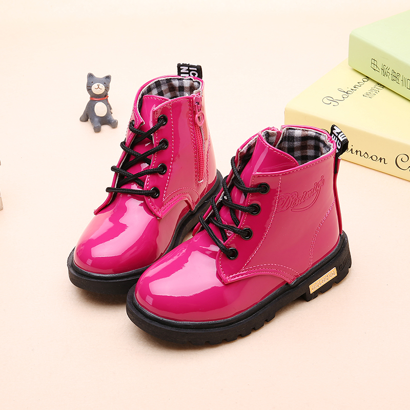 2020 New Winter Children Shoes PU Leather Waterproof Martin Boots Kids Snow Boots Brand Girls Boys Rubber Boots Fashion Sneakers
