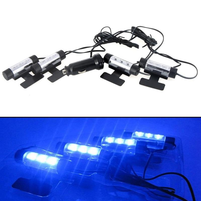 12V 4LED Car Auto Interior Atmosphere Lights Floor Decoration Lamp Light UP