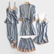Szary ślub 5 sztuk szata garnitur lato nowy Satin Kimono szlafrok luźne Sexy koronki wykończenia bielizna nocna luźna panna młoda druhna bathoobe