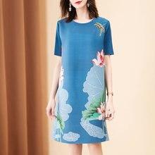 Летнее платье размера плюс в китайском стиле винтажное с круглым
