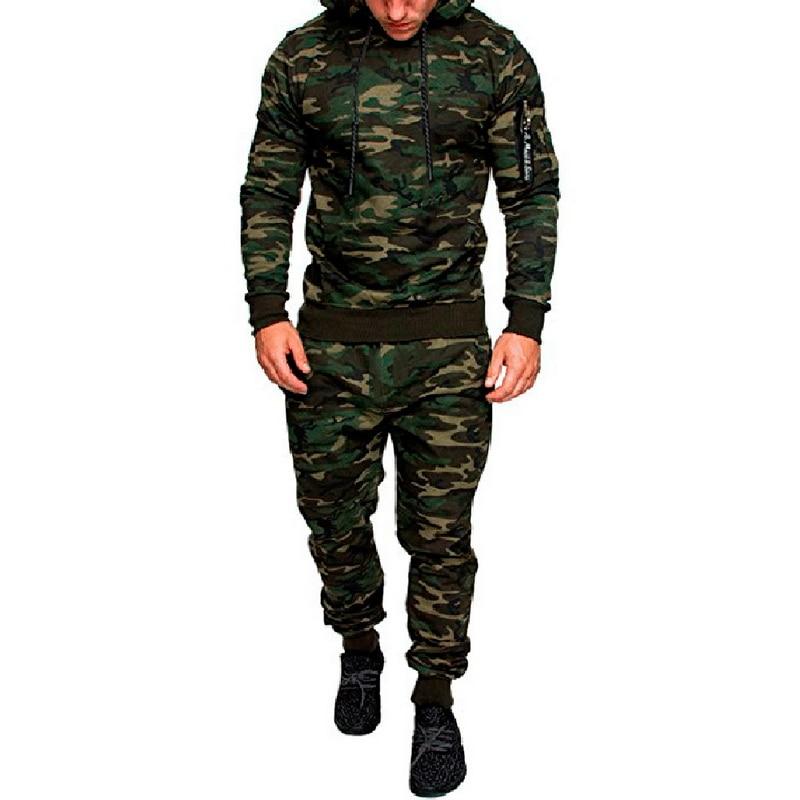2020 Men Fashion Soild Camouflage Jackets+Pants Set Male Tracksuit Outdoors Suit Men's Gyms Suit Set Casual Sportswear