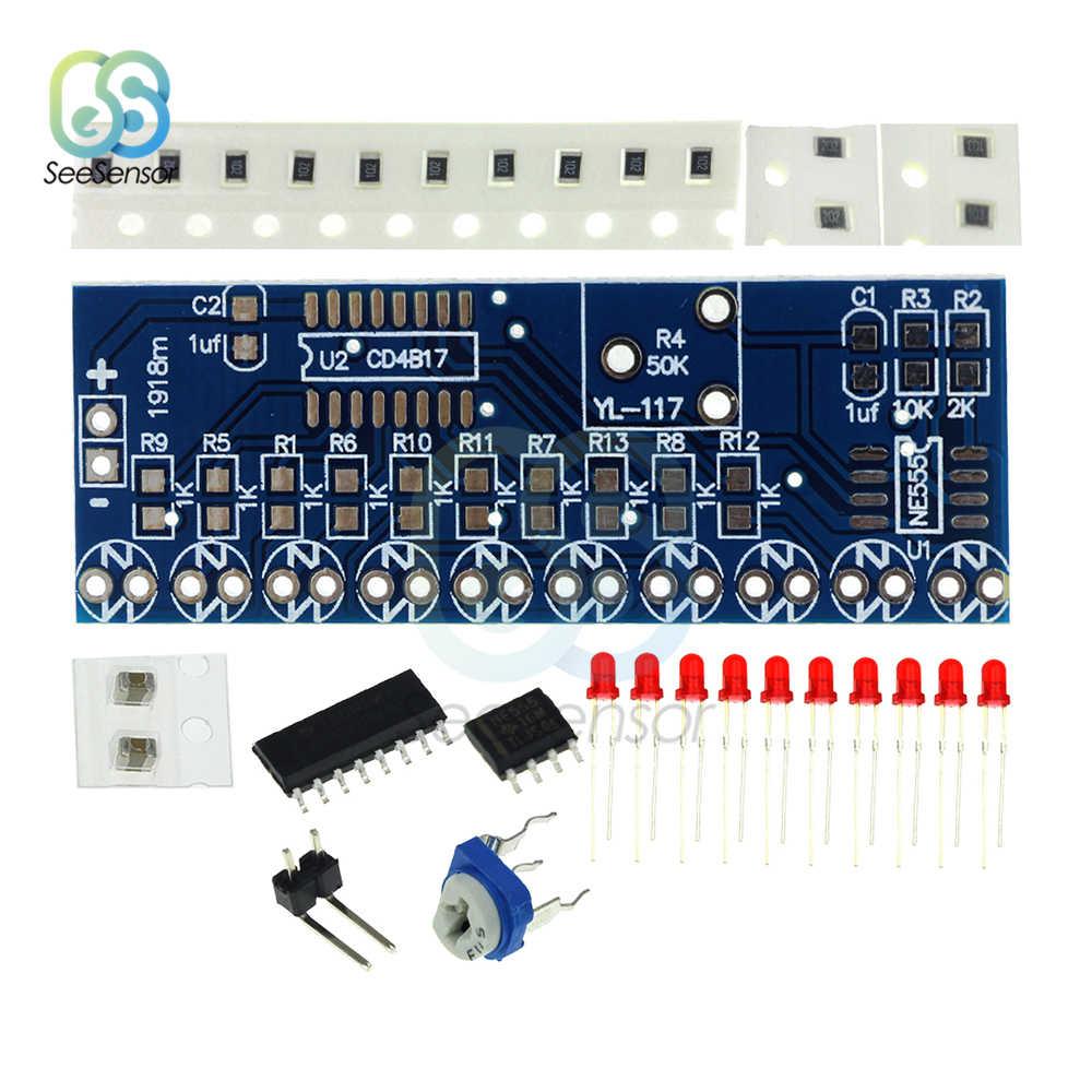 NE555 + CD4017 ไฟน้ำไหล LED โมดูล DIY ชุดวิ่ง Smart Electronics ชุด