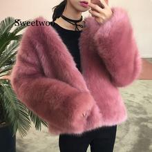 цена на NEW Winter Autumn Thick Warm Faux Fur Hooded Coat Pink Women Long Sleeve Jacket Outerwear Luxury Fur Casual Overcoat Plus Size