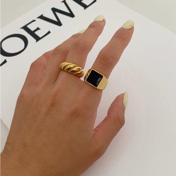 Peri #8217 sBox złoty kolor srebrny skręcone rogaliki pierścienie nici geometryczne pierścienie dla kobiet minimalistyczny Chunky Rings biżuteria w stylu Vintage tanie i dobre opinie Peri sBox Miedzi Kobiety Metal TRENDY Zespoły weselne GEOMETRIC Wszystko kompatybilny R0134 Brak Moda Party Pierścionki