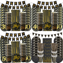 30 40 50 Years Anniversary Disposable Tableware set Happy Birthday Party Decorations Adult 30/40/50/60th year old Party supplies