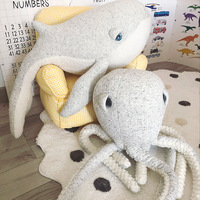 Big Cute Animals Dolphin Octopus Cushion Pillow Stuffed Plush Dolls Calm Sleep Toys Nordic Style Kids Photo Props Bed Room Decor