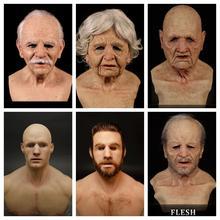 Stary człowiek straszna maska Party Cosplay straszny na całą głowę maska lateksowa Halloween śmieszne na imprezę Cosplay maska stary człowiek głowa kask prawdziwe maski tanie tanio CN (pochodzenie) Unisex Dla dorosłych Kostiumy Żel krzemionkowy