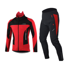 Trousers Cycling-Jacket Coat Jersey Winter Windproof Lixada Men Padded-Pants Long-Sleeve