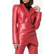 2019 New PU Leather Jacket Women Fashion Pleated Motorcycle Ladies Basic Street Coat