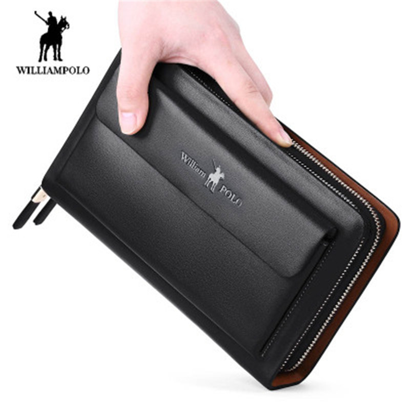 williampolo men's wallet fashion men's long leather wallet double zipper wrist strap clutch multi-function men's business wallet