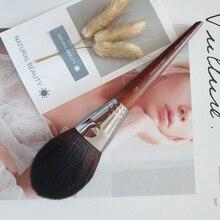 Pincel luxo redondo kabuki, pincel para maquiagem com cabo de madeira, pó denso, com precisão, blush em pó, 1 peça