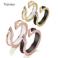 White Ceramic Ring With One Row Australia Zircon Channel Setting Rose-gold Metal Wedding Open Rings for Women