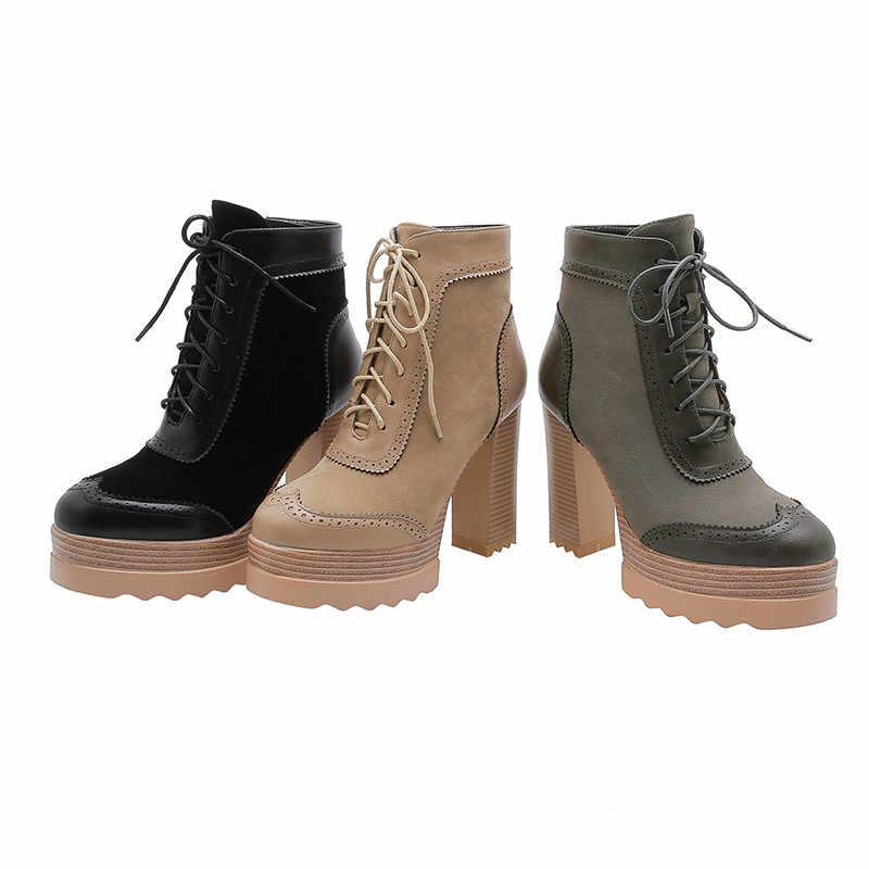MORAZORA 2020 yeni kış çizmeler kadın yüksek topuklu platform ayakkabılar zip lace up moda elbise parti ayakkabıları kadın yarım çizmeler