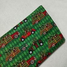 Милая зеленая Рождественская хлопковая ткань с принтом Санта-Клауса и машины, 50x105 см, цветочная ткань, ткань для пэчворка, детская одежда, платье