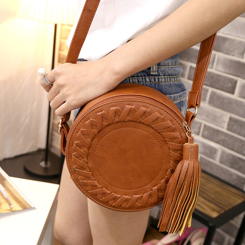 Woman Round Casual Shoulder Bag Female Adjustable Braided Tassel Small Round Bag Lady Versatile Funny Bag Bolsa Feminina 2019