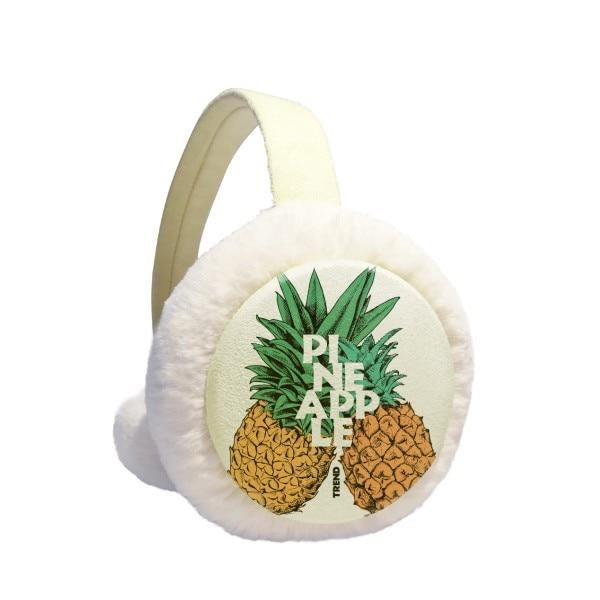 Pineapple Trend Couple Tropical Fruit Winter Earmuffs Ear Warmers Faux Fur Foldable Plush Outdoor Gift