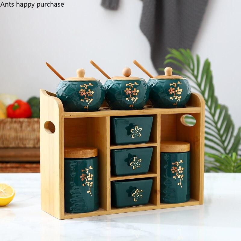 Зеленая керамическая банка для специй, набор из восьми предметов, деревянная основа, кухонные принадлежности, коробка для приправ, комбинированные пакеты, контейнер для хранения специй| |   | АлиЭкспресс