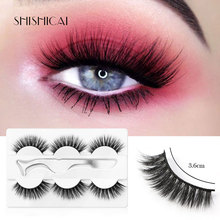 3 Pairs Fake Eyelashes Extension Faux Mink Natural Long Lasting False with Tweezers