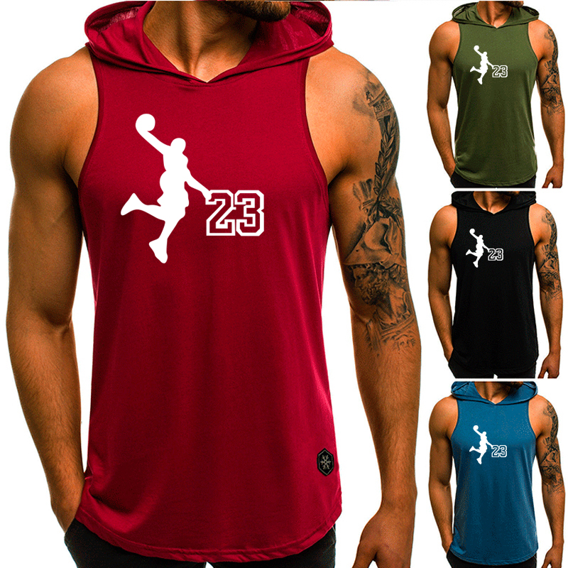 American basketball hoodie <font><b>Jordan</b></font> No. <font><b>23</b></font> printed fitness men's vest jersey casual sleeveless hooded basketball vest training sui image