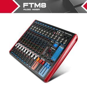 Xtuga ftm8 8 canais de som profissional misturador de áudio embutido 99 bits dsp efeito digital com função gravável mp3, bluetooth, usb