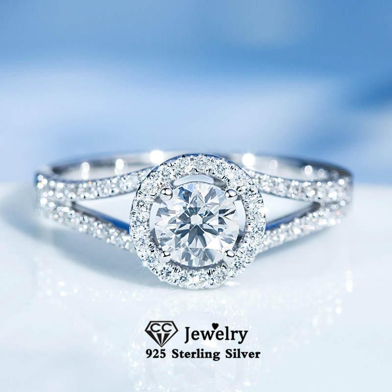 Trendy Rings Engagement-Ring Wedding Bridal 925-Silver Cubic-Zirconia Women CC Round