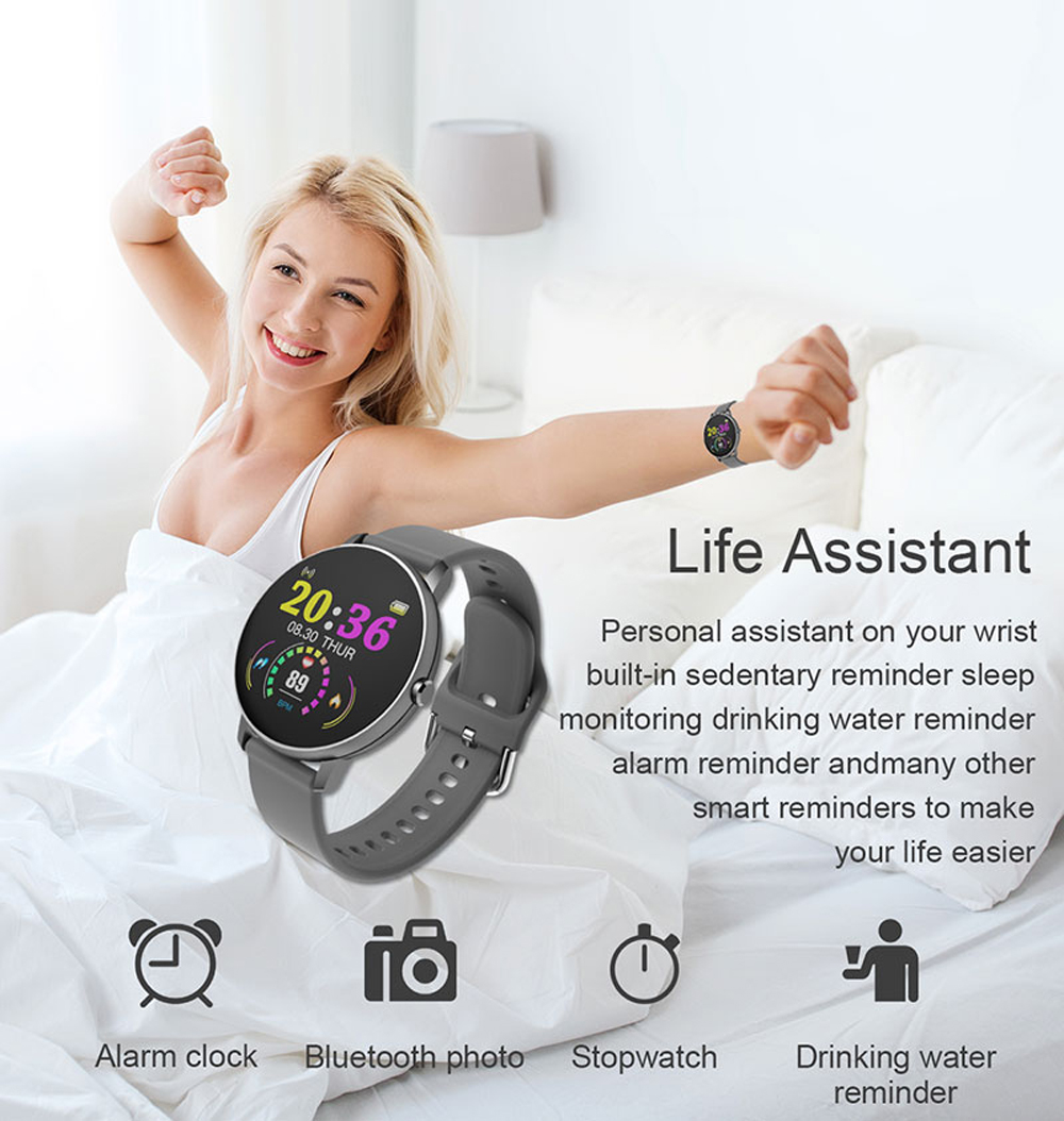 H8d78913d0dbc409cbfd66c20bb015718E 2020 Full Touch Smart Watch Men Blood Pressure Heart Rate Monitor Round Smartwatch Women Waterproof Sport Clock For Android IOS