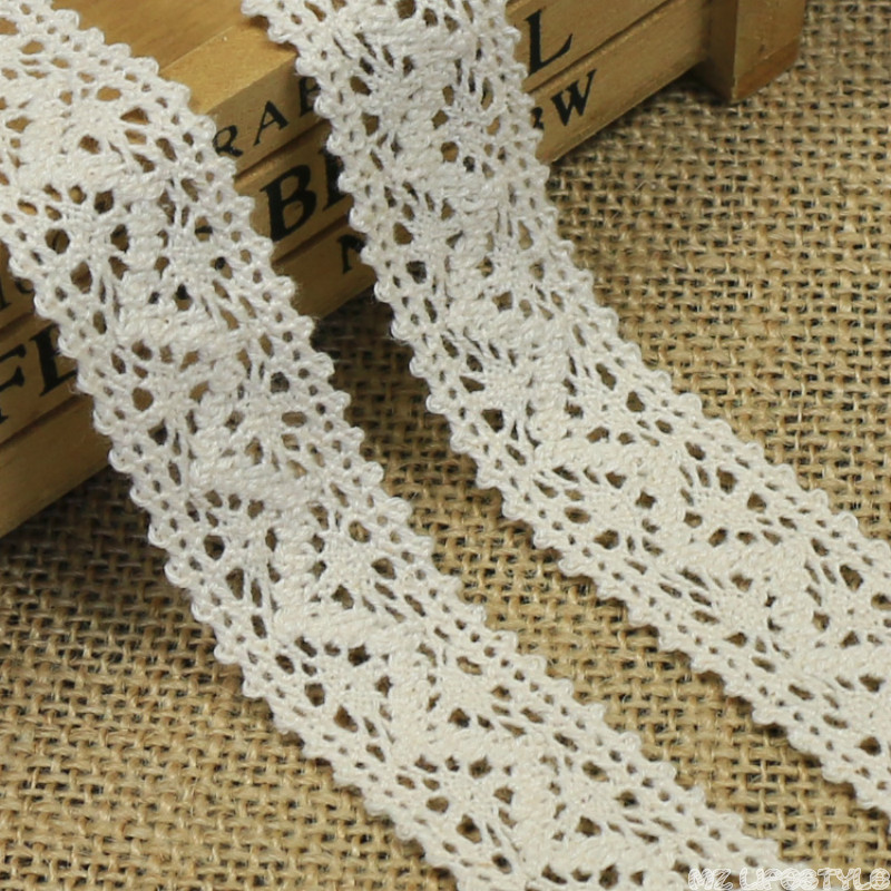 Off White Lace Ribbon 5 Yards/lot Cotton Hollow Flower Lace Trim Handmade Crafts DIY Sewing Accessories 2.6cm