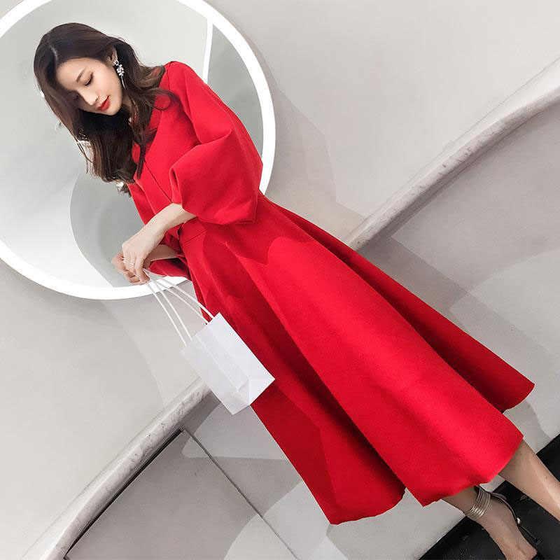2019 nowy garnitur kobiet temperamentu Kostiumy damskie dwuczęściowy okrągły szyi latarnie rękawy spódnica garnitur spódnica