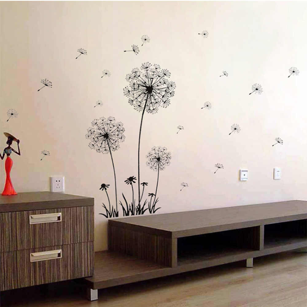 70*50cm Dandelion สติ๊กเกอร์ติดผนังห้องนั่งเล่นห้องนอนสติ๊กเกอร์ติดผนัง PVC ตกแต่ง Happy ของขวัญพื้นหลังทีวีสติกเกอร์