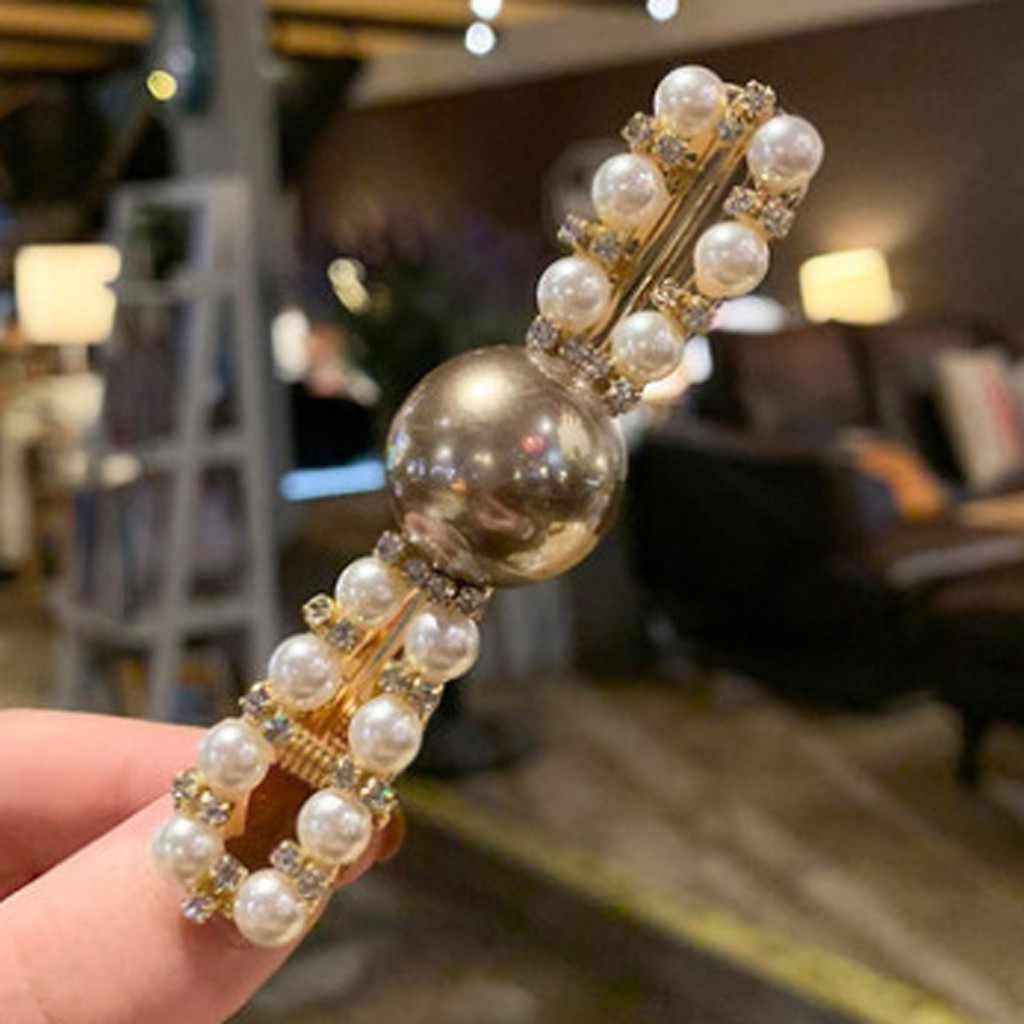 Korea Fashion Pearl Diamond Hair Clip Women Snap Barrettes Trendy Hair Barrette Clips Girl Hairpins Handmade Hair Accessories