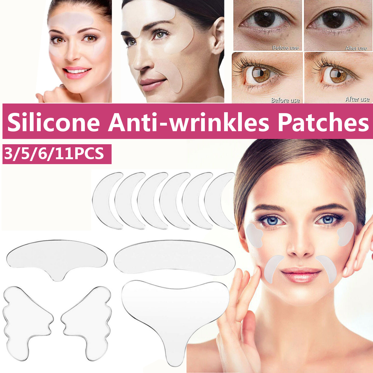 3/5/6/11pcs/set Anti Wrinkle Eye Chin Forehead Skin Care Pads 100% Medical Grade Silicone Reusable Face Lifting Overnight Patche