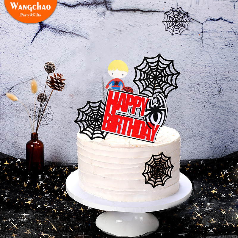 3pcs Spider Webs Super Hero Dream Party Theme Happy Birthday Cake Topper Boys Kids Favors Party Supplies Cake Decoration