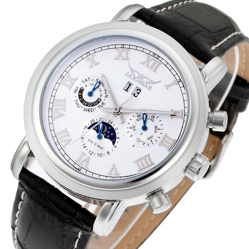 Jaragar Classic Black Moon Phase Roman Date Day Genuine Leather Multifunction Automatic Mens Mechanical Watches Business Relogio