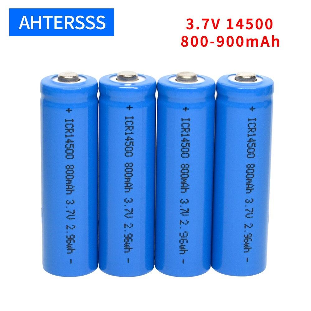 3,7 v 14500 перезаряжаемая батарея 3,7 v литиевая aa батарея 2A 800-900mAh литий-ионные батареи