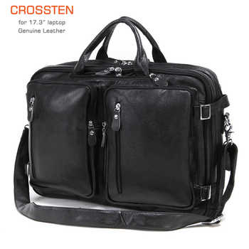 2019 New Natural Cowskin 100% Genuine Leather Men's multifunctional Briefcase Large Capacity Business Shoulder bag 17 Laptop Bag - DISCOUNT ITEM  68% OFF All Category