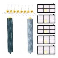 Acessórios kit para irobot roomba 981 980 960 895 886 870 865 866 800 900 series  peças de reposição 8 escovas laterais  5 filtro  2 ro