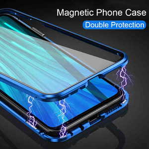 Image 5 - Magnetic Filp Phone Case For Xiaomi Redmi K30 K20 Double Glass Metal Case on redmi 8 8a note 8T 8 7 Pro Protective Coque Cover