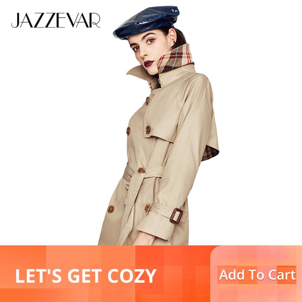 JAZZEVAR 2019 الجديدة عالية أزياء المرأة للماء القطن مزدوجة الصدر قصيرة خندق معطف قميص أعلى جودة-في معطف مبطن من ملابس نسائية على  مجموعة 1