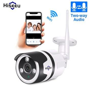 Cámara IP para exteriores Hiseeu wifi 1080P 720P impermeable cámara de seguridad inalámbrica 2.0MP metal audio bidireccional tarjeta TF registro P2P bullet